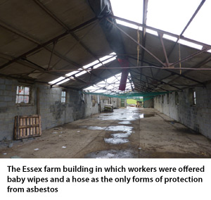 Workers offered baby wipes as protection from asbestos
