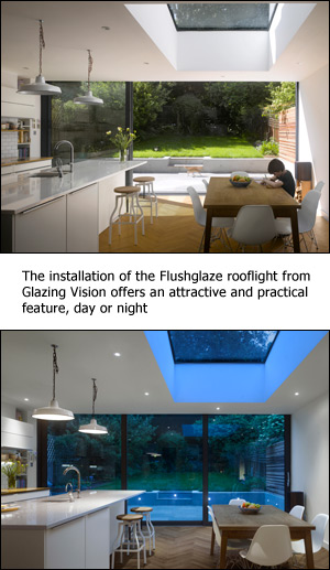 The installation of the Flushglaze rooflight from Glazing Vision offers an attractive and practical feature, day or night